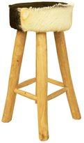 Jeffan Decorative Brown Rustic Round Teak Bar Stool