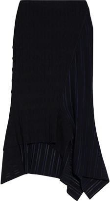 Roland Mouret Nico Asymmetric Paneled Ribbed-knit Skirt