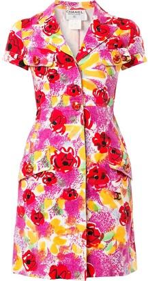 Chanel Pre-Owned camelia print shirt dress