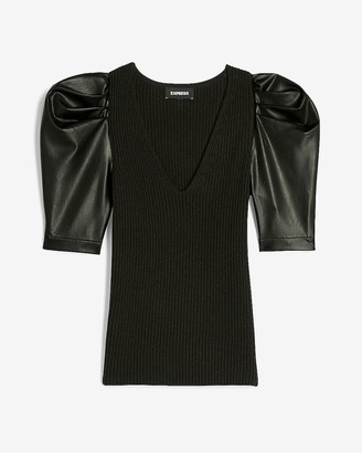 Express Vegan Leather Puff Sleeve Ribbed Sweater