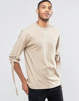 Asos Oversized 3/4 Sleeve T-Shirt With Strap Detail