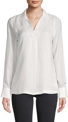Calvin Klein Spread Collar Long-Sleeve Top