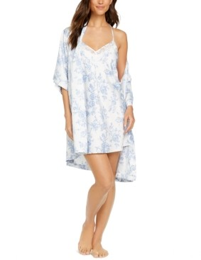 INC International Concepts Inc Floral-Print Wrap Robe, Created for Macy's