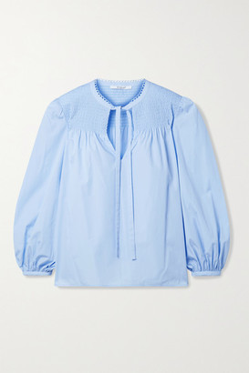 Derek Lam 10 Crosby Austin Picot-trimmed Shirred Cotton-poplin Blouse - Light blue