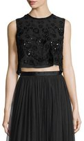 Needle & Thread Embellished Floral-Embroidery Crop Top, Black/Black