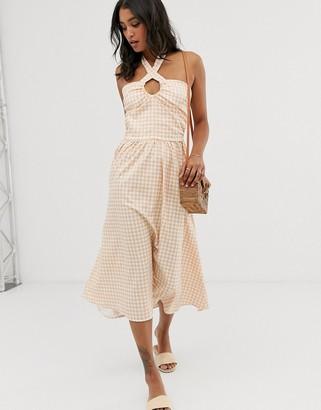 UNIQUE21 check lace up front midi dress-Pink