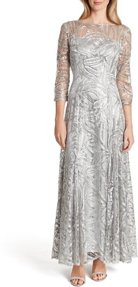 Tahari Embroidered Sequin A-Line Gown
