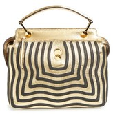 Fendi Dotcom Click Hypnotic Wave Calfskin Leather Satchel - Metallic
