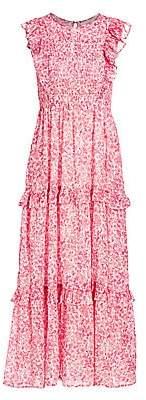 Banjanan Women's Iris Smocked Floral Tiered Ruffle Dress