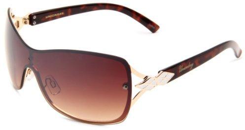 UNIONBAY Union Bay Women's U471 Shield Sunglasses,Gold Frame,Brown Gradient Lens,One Size