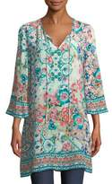 Tolani Astrid Floral-Print Silk Tunic