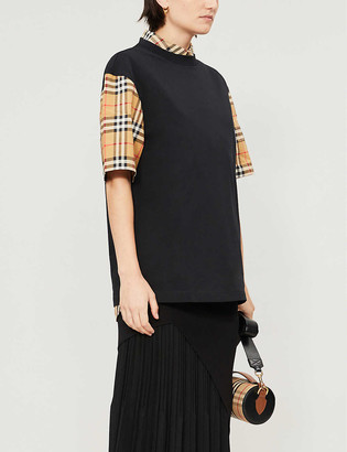 Burberry Serra checked-sleeve cotton-jersey T-shirt