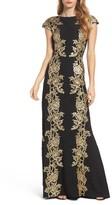 Tadashi Shoji Women's Sequin Applique Textured Crepe Gown