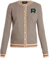 Rochas Logo-patch striped cotton cardigan