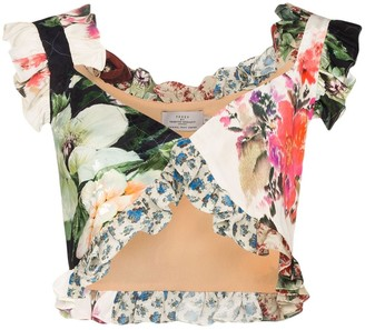 Preen by Thornton Bregazzi Floral print patchwork crop top