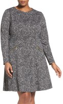 MICHAEL Michael Kors 'Norfolk' Print Long Sleeve Fit & Flare Dress (Plus Size)