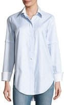Helmut Lang Long-Sleeve Convertible Striped Poplin Shirt, Light Blue