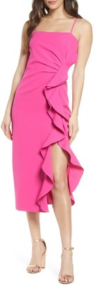 Bardot Fiona Trumpet Ruffle Satin Dress