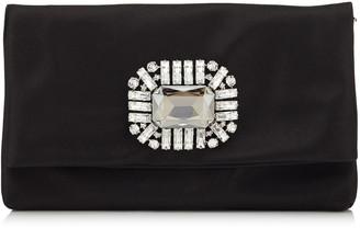 Jimmy Choo TITANIA Black Satin Clutch Bag with Jewelled Centre Piece