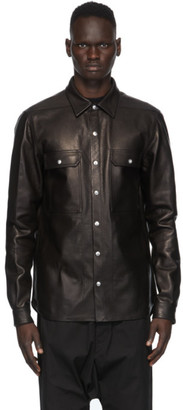 Rick Owens Black Leather Outer Shirt Jacket