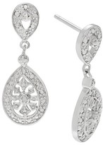 Journee Collection 1/10 CT. T.W. Round-cut Diamond Pave Set Dangle Earrings in Sterling Silver (JK-I2) - Silver