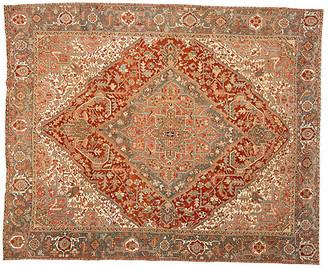 "One Kings Lane Vintage Antique Persian Heriz Rug - 10'8"" x 16'1"" - Apadana - red"