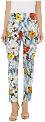 Elliott Lauren Spring Awakening Pull-On Ankle Pants with Back Slit Detail (Blue Multi) Women's Clothing