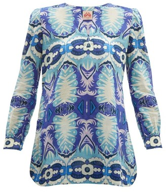 Le Sirenuse Le Sirenuse, Positano - Kate Fishtail-print Cotton Top - Womens - Blue Multi