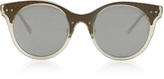 Bottega Veneta BV0143S 003 Transparent Acetate and Bronze Metal Women's Sunglasses