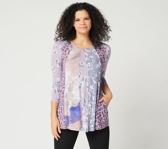 Logo By Lori Goldstein LOGO by Lori Goldstein Mixed Print Top w/ Twisted Neck Detail