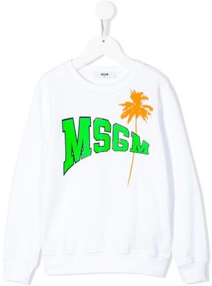 Msgm Kids Palm Tree Logo Sweatshirt