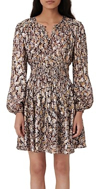 Maje Ribbia Metallic Jacquard Printed Dress
