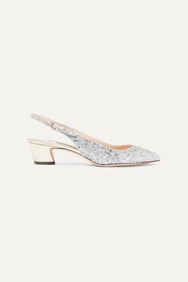 Jimmy Choo Gemma 40 Glittered Leather Slingback Pumps - Silver