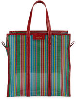 Balenciaga Bazar Medium AJ Mesh Striped Shopper Tote Bag, Green/Red