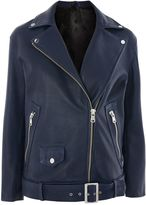 Topshop **Blue Longline Biker Jacket by Boutique