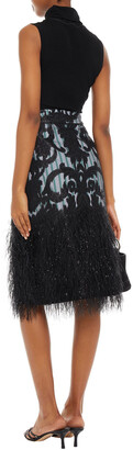 Ganni Layered Embellished Fil Coupe Organza And Striped Poplin Skirt
