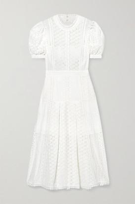 Self-Portrait Broderie Anglaise Cotton Midi Dress - White