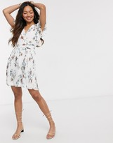 French Connection pleated floral jersey v-neck mini dress