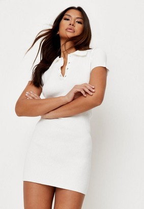 Missguided Petite White Rib Collar Bodycon Knit Tennis Dress
