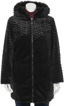 Details Plus Size Faux Fur Trimmed Hood Jacket