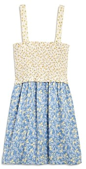 Aqua Girls' Mixed Print Smocked Sleeveless Dress - 100% Exclusive