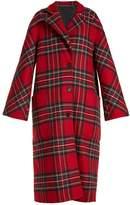 Burberry Single-breasted tartan wool-blend coat