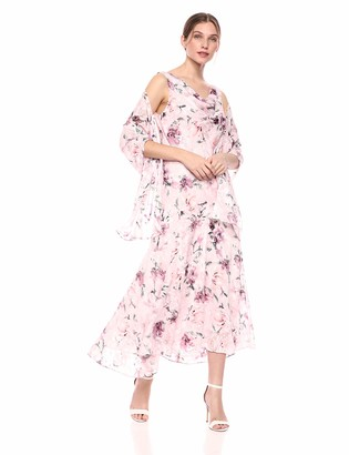 Alex Evenings Women's Tea Length Printed Chiffon Dress with Shawl