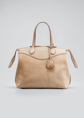 Ralph Lauren Collection Voyager Medium Mixed Leather Satchel Bag