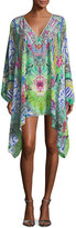 Camilla Split-Neck Printed Embellished Kaftan Coverup