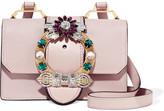 Miu Miu Embellished Textured-leather Shoulder Bag - Blush