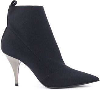 Casadei Black Stretch Fabric Ankle Boots