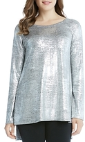 Karen Kane High/Low Metallic Raglan Sleeve Top