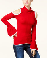 XOXO Juniors' Bell-Sleeve Cold-Shoulder Sweater