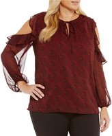 Gibson & Latimer Plus Longsleeve Dot Printed Blouse